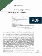 Traduire Le Bilinguisme Beckett