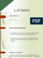Delict Lecture 1