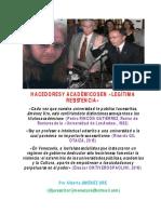 Hacedores y Académicos en «Legítima Resistencia»