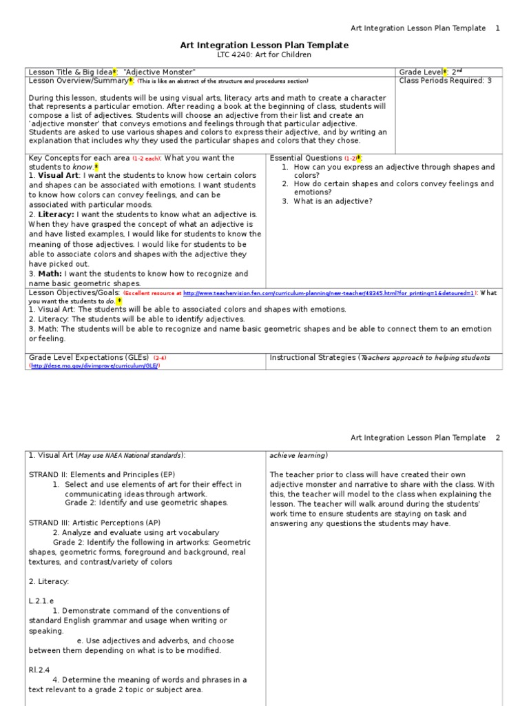 Art Lesson Plan Lesson Plan Educational Assessment