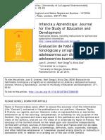 2004 Evaluación de Habilidades Fonológicas y Ortográficas en Adolescentes Con Dislexia y Adolescentes Buenos Lectores.