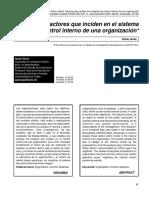 Factores que inciden en el sistema de control interno de una organización