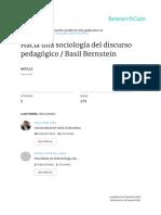 Bernstein Hacia Una Sociologia Del Discurso Pedagogico