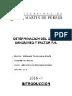 Grupo Sanguineo y Factor Rh Lab 7