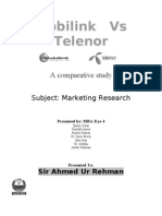 Telenor vs Mobilink Marketing Research Report