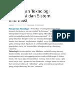 Pengertian Teknologi Informasi Dan Sistem Informasi