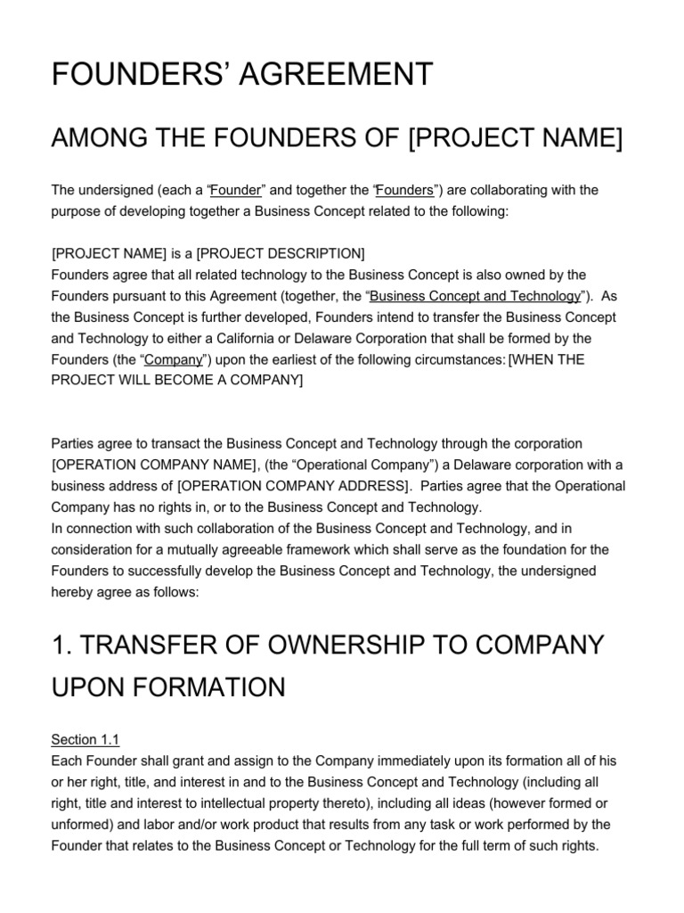 Founders Agreement Vesting Ownership