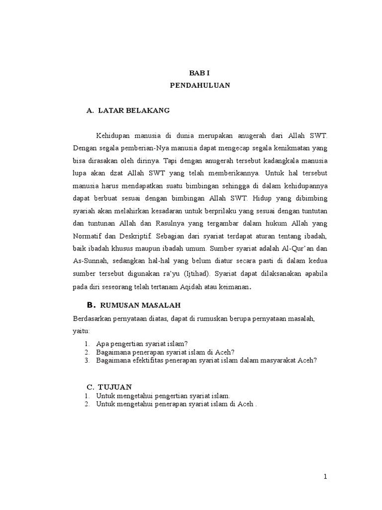 Makalah Studi Syariat Islam Di Aceh