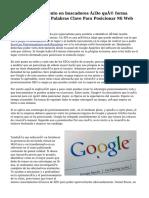 Guía posicionamiento en buscadores ¿De qué forma Elegir Las Mejores Palabras Clave Para Posicionar Mi Web En Google?