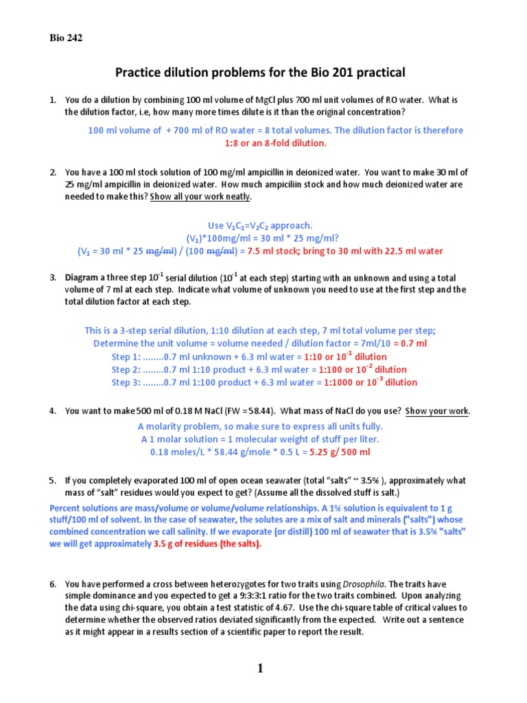 Worksheet Dilution Problems Worksheet Worksheet Fun Worksheet