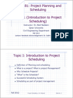 Topic 1 Introduction to Project Scheduling
