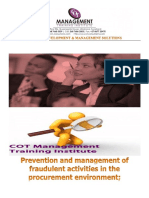 Prevention and Management of Fraudlent Activiteis Inthe Procurement Evironment;