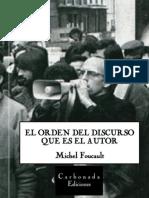 El Orden Del Discurso. Michel Foucault (Portada)