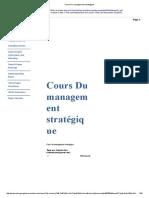 Cours Du Management Stratégique