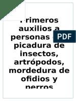 Miriápodos- Crustaceos PRIMEROS AUXILIOS