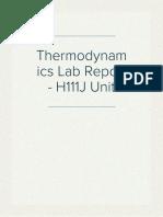 Thermodynamics Lab Report - H111J Unit
