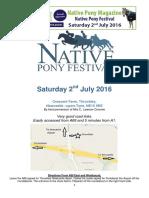 Native Pony Festival Schedule 2016 PDF