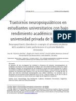 Trastornos Neuropsiquiátricos Estudiantes de Medellin
