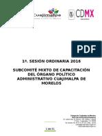1° SECION DE SUBCOMITE DE CAPACITACIÓN 2016 CHUY 12 04 2016