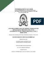 Analisis Juridico de Los Modos Anormales de Finalizar El Proceso Civil en El Anteproyecto de Código Procesal Civil y Mercantil