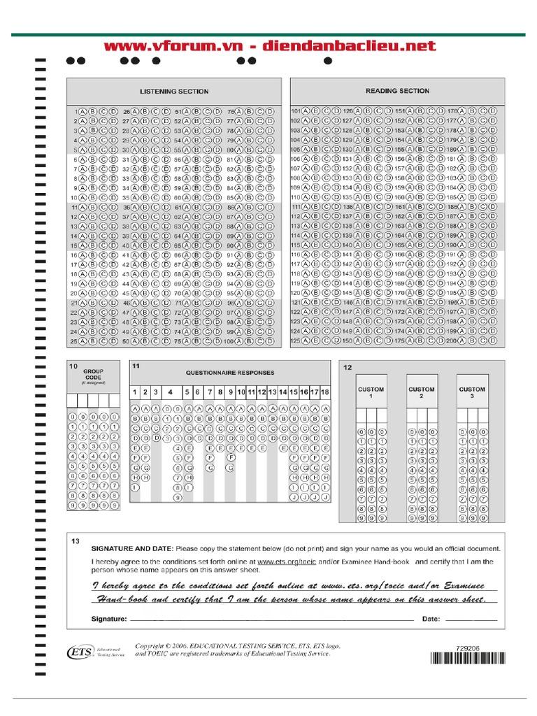 Answer Sheet Toeic Pdf Toeic reading test pdf