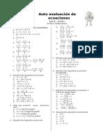Auto Evaluación de Ecuaciones Mat B 4º ESO