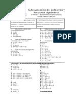 Autoevaluación de Polinomios y Fracciones Algebraicas Mat B 4º