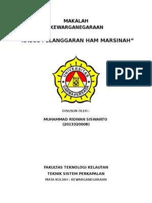 Makalah Kasus Pelanggaran Ham Marsinah Kewarganegaraan Universitas Dharma Persada By Ridwan
