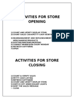 Activities for Store Opening