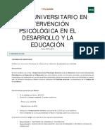 Master Intervencion Psicologica en El Desarrollo