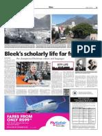 Bleek's scholarly life far from bleak - Weekend Argus April 30, 2016