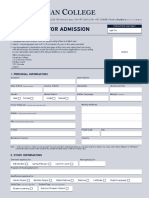 Application for Admission Form