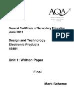 Mark Scheme 2011
