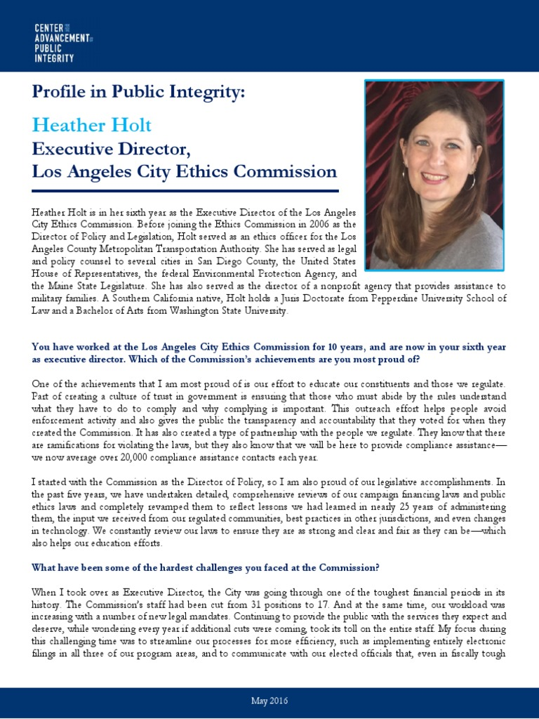 Profiles in public integrity heather holt regulatory compliance whistleblower