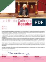 Lettre de Catherine BEAUBATIE, Députée de la troisième circonscription de la Haute-Vienne