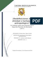 Redefiniciones de otredad o hartazgo antropológico . Un análisis sobre documentos de la Segunda Reunión de Barbados (1977)