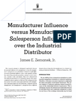 Manufacturer Influence versus Manufacturer Salesperson Influence over the Industrial Distributor