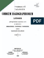Catalogus Codicorum Hagiographicorum Latinorum, Tomus III, Bruxelles 1893