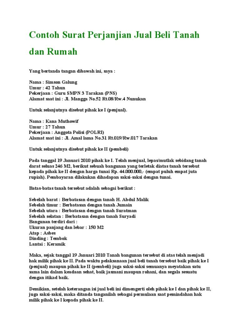 Contoh Surat Perjanjian Jual Beli Tanah Kampung Brad Erva Doce Info
