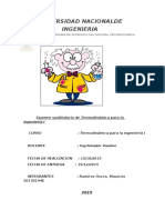 Examen Parcial de Termodinamica Para La Ingenieria I