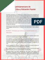 Manifiesto Latinoamericano de Pedagogía Crítica y Educación Popular