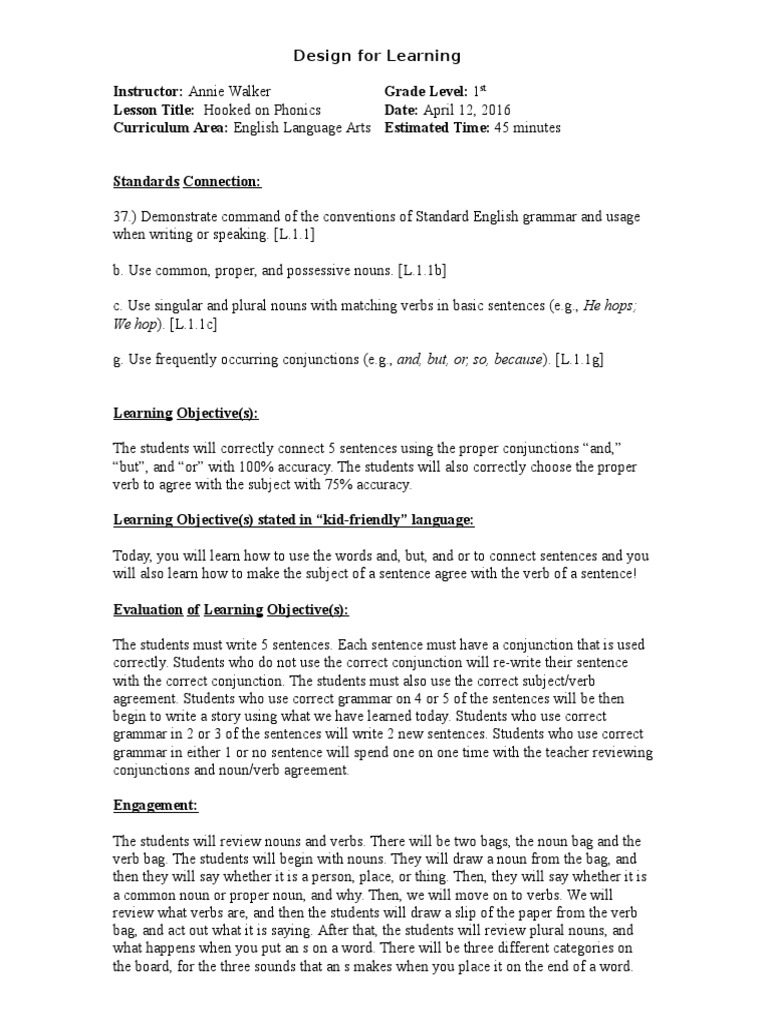 phonics lesson plan Grammatical Number