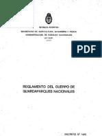 Reglamento del Cuerpo de Guardaparques. Argentina. Decreto 1455 1987 1° Parte