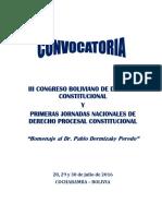 Convocatoria del Tercer Congreso Boliviano de Derecho Constitucional - Cochabamba 2016