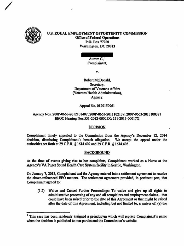 Aurore C Eeoc Settlement Breach Case Equal Employment