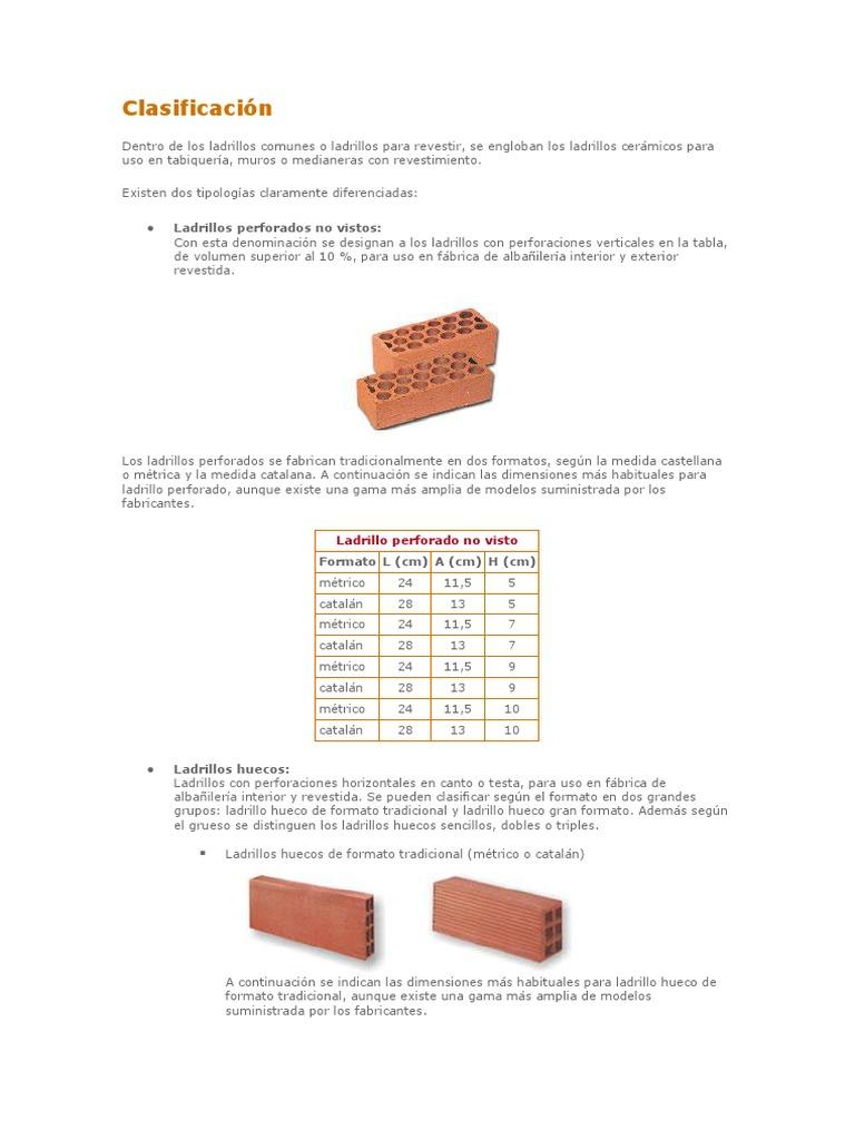 Dimensiones ladrillo hueco ladrillo hueco portante x x cm - Medidas ladrillo macizo ...