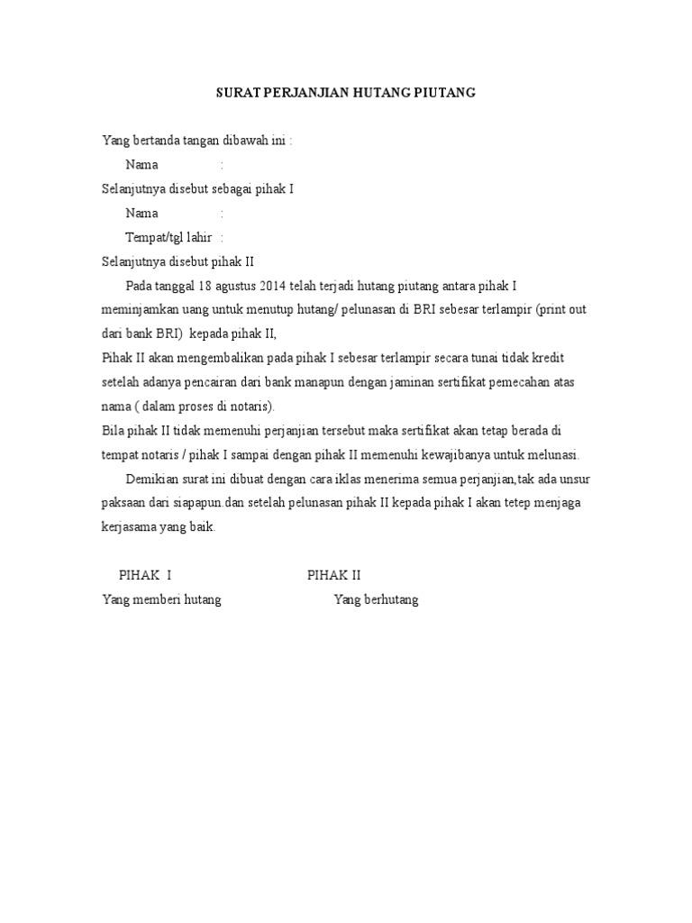 Contoh Surat Pernyataan Tidak Memiliki Hutang Piutang ...