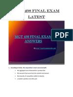 MGT 498 Final Exam (Latest) Assignment