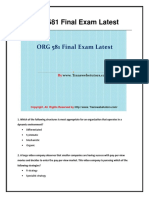 ORG 581 Final Exam (Latest) - Assignment
