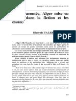 Alger Racontée, Alger Mise en Scène (Dans La Fiction Et Les Essais